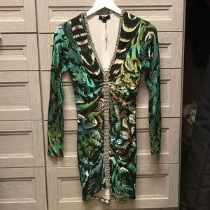 SKY RHINESTONE PRINT DRESS